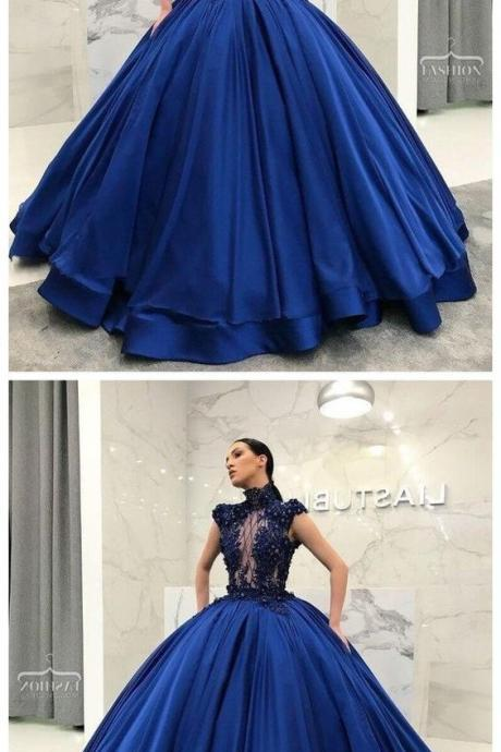 Ball Gown High Neckline Navy Blue Satin Floor-Length Lace Quinceanera Dress Sweet 16 Dresses for Girls M5996