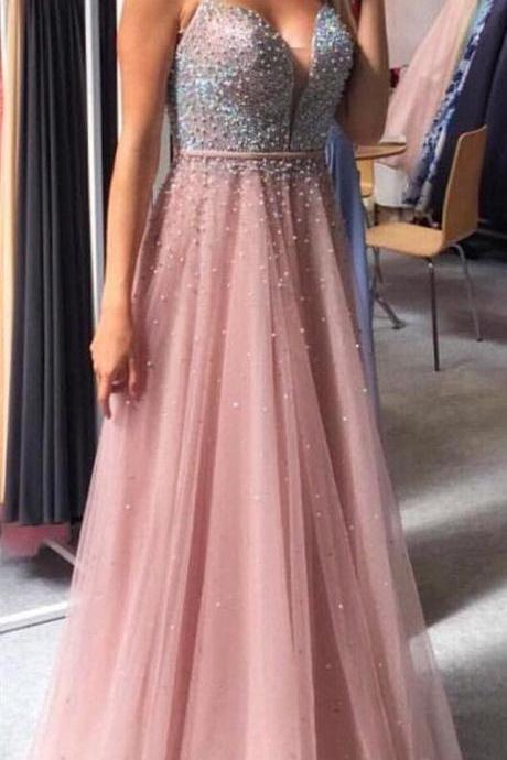 Gorgeous Pink Long Prom Dress with Beaded Top M6006