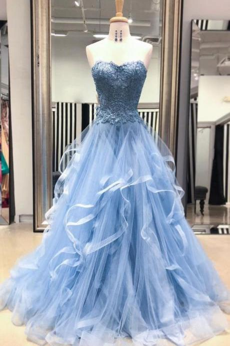 BLUE SWEETHEART NECK TULLE LACE LONG PROM DRESS, BLUE LACE EVENING DRESS M6033
