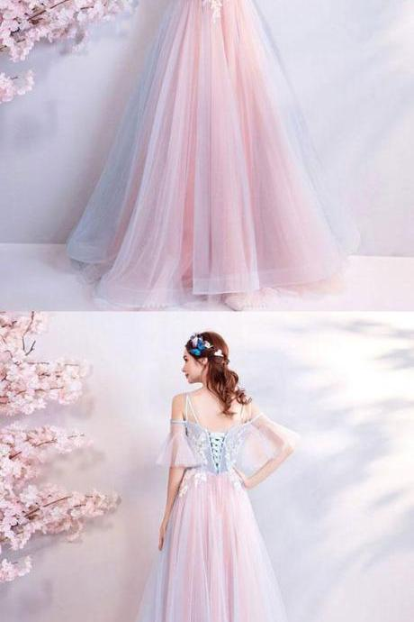 Pink sweetheart tulle lace applique long prom dress, pink evening dress M6083