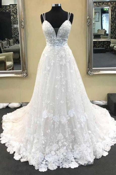 Ball Gown V Neck Spaghetti Straps Ivory Lace Long Wedding Dresses M6106