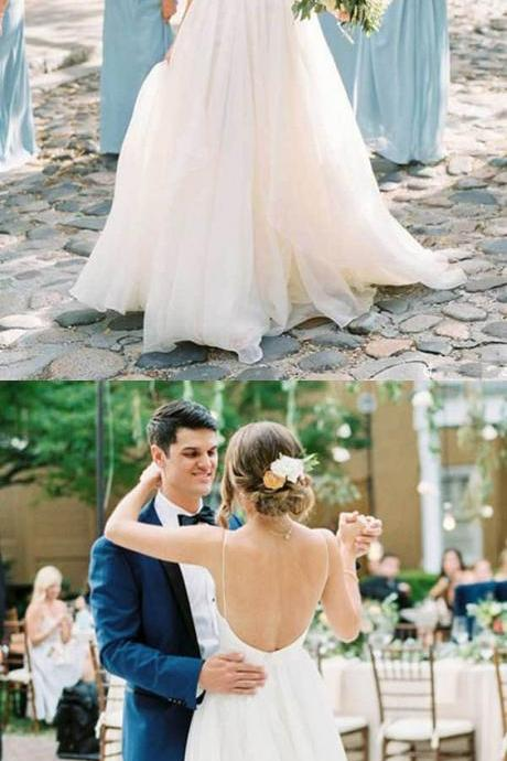 Charming A Line V Neck Backless Ivory Chiffon Wedding Dresses M6107