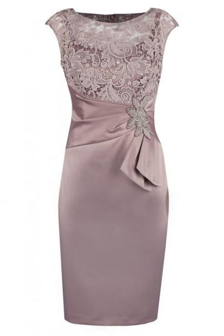 Sheath Bateau Short Champagne Satin Mother of The Bride Dress with Lace Beading M6136