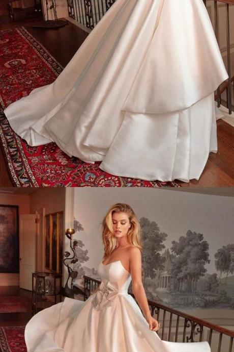 A-Line Strapless Floor Length White Satin Wedding Dress with Bowknot M6159