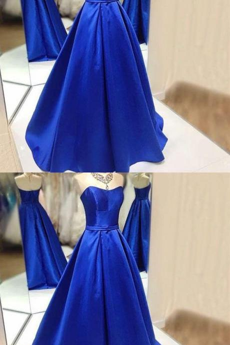 Royal Blue Strapless A Line Prom Dresses,Sleeveless Quinceanera Dress M6179