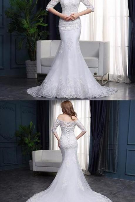 Off Shoulder Half Sleeves Mermaid Wedding Dresses,Lace Bridal Dresses M6184