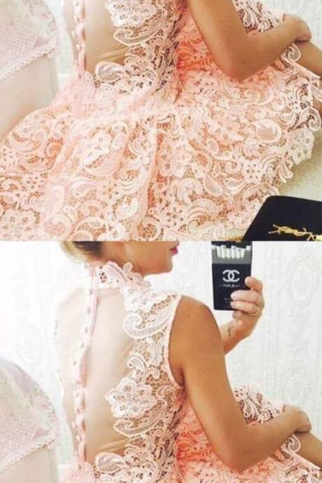 A-line Round Neck Lace Short Homecoming Dress M6190