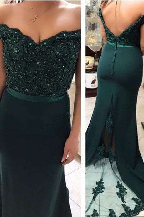 Off The Shoulder Evening Gowns,Mermaid Prom Dresses,Emerald Green Prom Dresses M6223