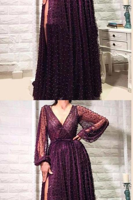 Chic V Neck Cheap Prom Dress Long Sleeve Vintage African Prom Dress M6234
