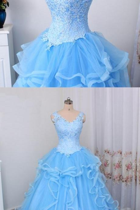 Blue tulle V neck long lace top ruffles evening dress, formal senior prom dress M6265