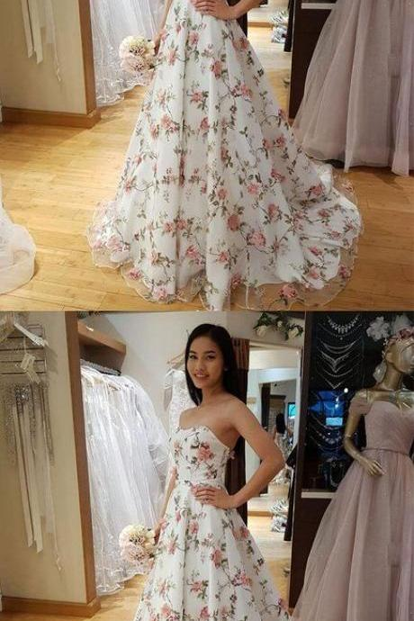WHITE TULLE 3D APPLIQUE LONG PROM DRESS, WHITE EVENING DRESS M6285