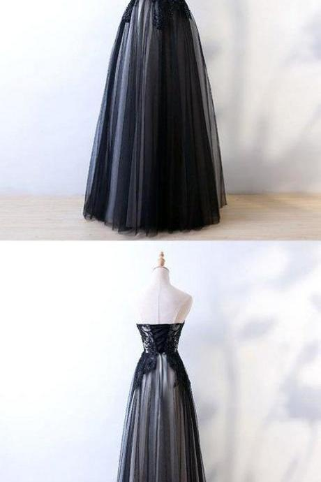 A-Line Strapless Black Tulle Appliqued Long Prom Dresses M6327