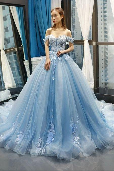 Blue Ball Gown Tulle Appliques Off The Shoulder Backless Sweet 16 Prom Dresses M6372