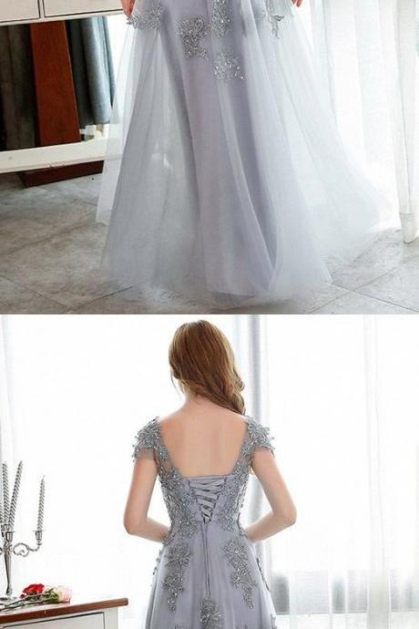 Lace Prom Dress, A-line Party Dress,Backless Evening Dress ,Prom Dress With Appliques M6408