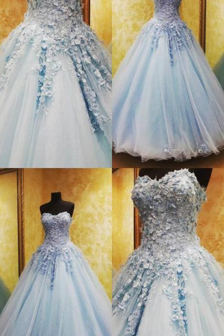 Charming Light Blue Lace Flowers Beaded Sweetheart Tulle Ball Gowns Quinceanera Dresses M6453