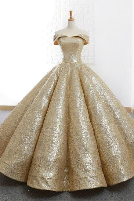 Gold Ball Gown Sequins Off The Shoulder Appliques Wedding Dress M6469