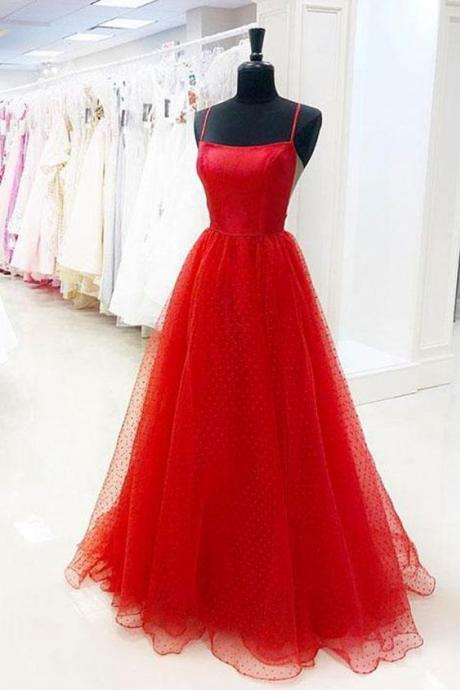 Simple Red Spot Tulle A line Prom Dress, Red Evening Dress M6487