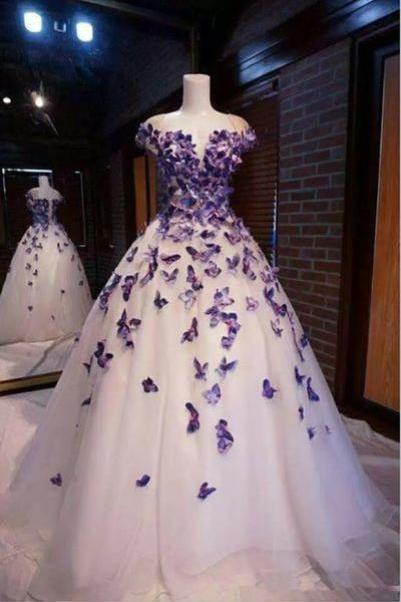 Purple Butterfly Appliques Prom Dress, Party Dress With Appliques M6506