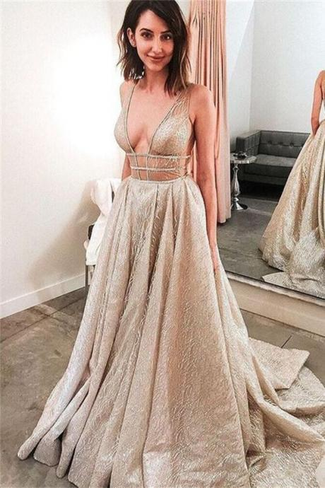 Elegant Sparkly V Neck Open Back Sequin Shiny Long Sleeveless Prom Dresses M6525