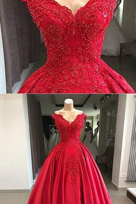 Red lace Satin Ball Gown Prom Dresses Long with beading M6534