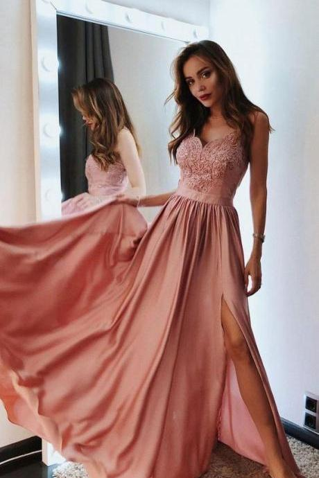 Pink v neck chiffon lace long prom dress, pink evening dress M6547