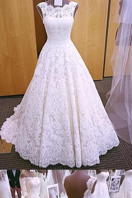 Vintage Cap Sleeves Open Back Lace Wedding Dresses M6578