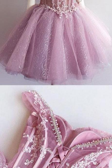 Sleeveless Lilac Prom Party Dresses Dazzling Short A-line Princess Bandage Lace Up Dresses M6580