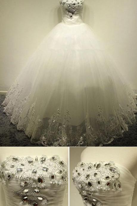 Modern Strapless Crystal Bride Dress, Ball Gowns Wedding Dress, Bridal Dress With Appliques M6601