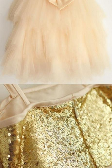 A-Line Spaghetti Straps Champagne Flower Girl Dress with Bow M6608