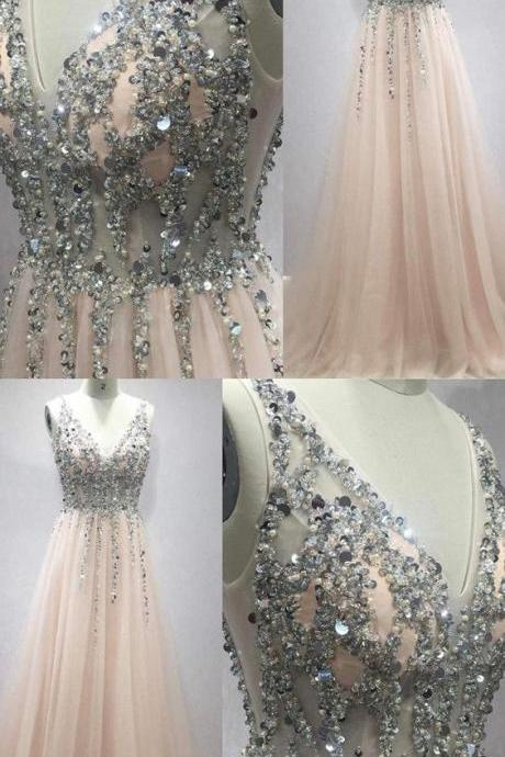 Deep V Neck Long Tulle Peach Prom Dresses With Sequins And Beads 2019 Leg Split Evening Gowns M6637