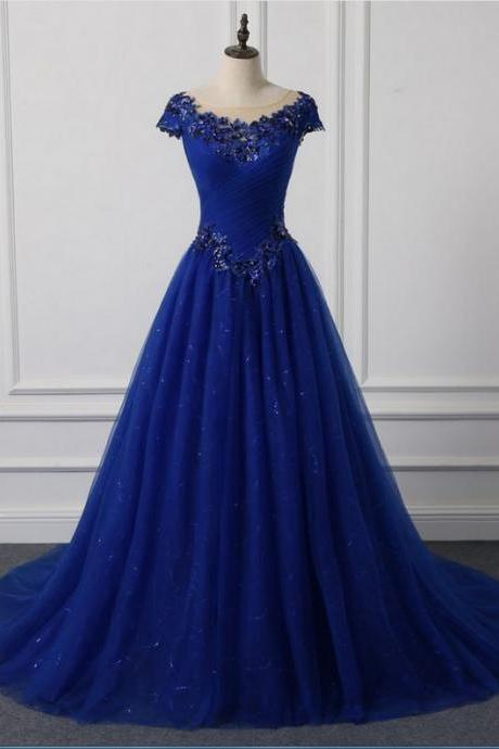 Long neck Appliqued new O outdoor wedding dress royal blue foil veils wedding party dresses M6757