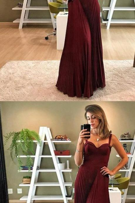 A-Line Spaghetti Straps Floor-Length Burgundy Satin Prom Dress with Pleats M6775