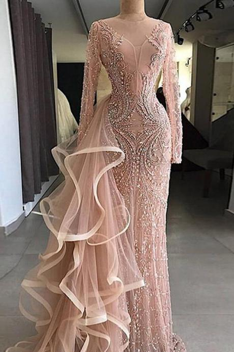 Chic Pink Prom Dress Sheath Long Sleeve Prom Dress M6790