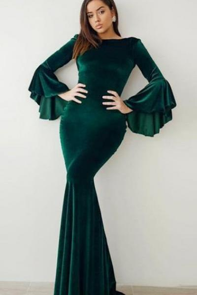 Mermaid Bateau Flare Sleeves Floor-Length Green Velvet Prom Dress M6797