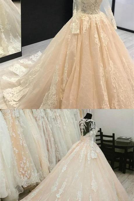 Champagne Wedding Dresses Ball Gowns Lace Long Sleeves M6825