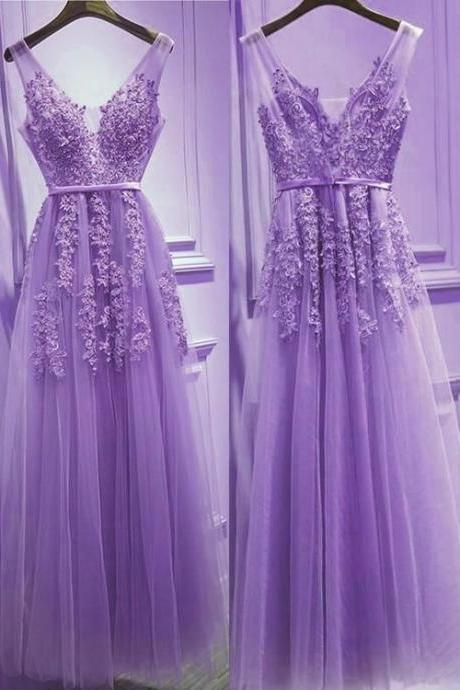 Beautiful Light Purple Tulle V-neckline Party Dress 2019, Tulle Formal Gowns M6845