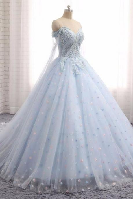 Comfortable Appliques Sweetheart Baby Blue Tulle Long Lace Appliques Wedding Dress, Train Prom Dress M6852