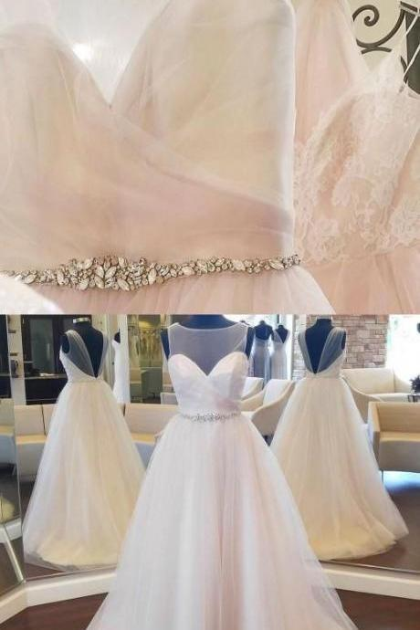 V-back Tulle Wedding Dress with Beaded M6876