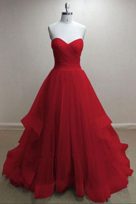 Evening Dresses, Prom Dresses,Party Dresses,Pretty Handmade Tulle Red Sweetheart Long Prom Dresses, Red Prom Gowns, Tulle Formal Dresses M7000