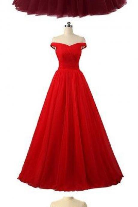 Simple A line tulle long prom gown, evening dress M7021