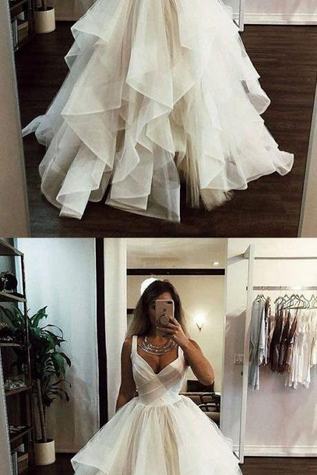 White v neck tulle long prom dress, white evening dress M7048