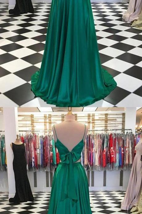 Green v neck satin long prom dress, two pieces evening dress M7054