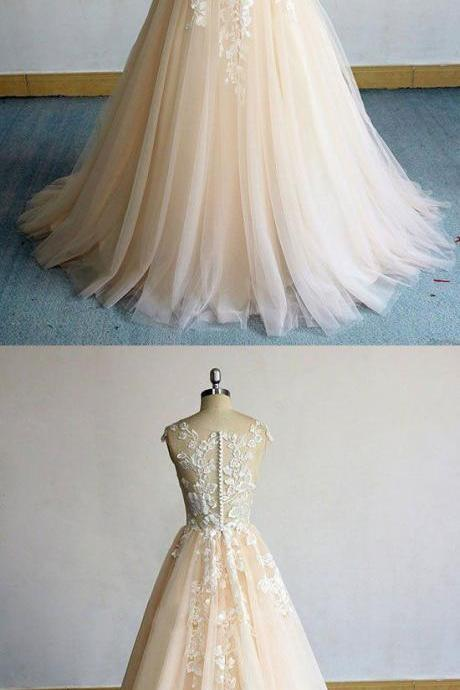 Champagne round neck tulle lace long prom dress, evening dress M7059