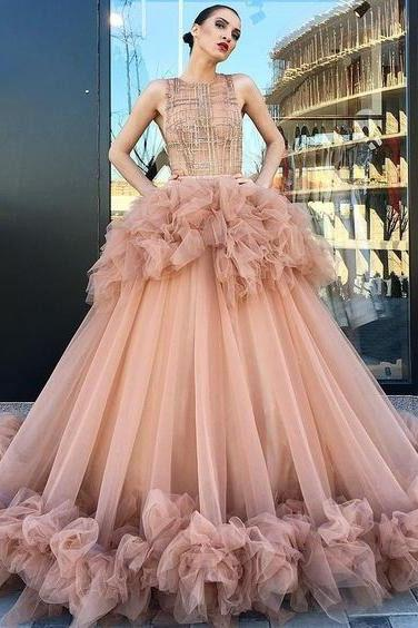 Ball Gown Scoop Ruffles Tulle Long Beautiful Beading Prom Dress,Quinceanera Dresse M7091