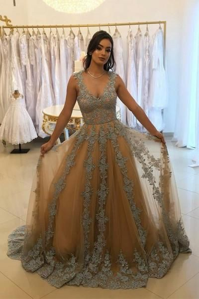 A-Line V-Neck Tulle Long Prom Dress with Lace Appliques M7092