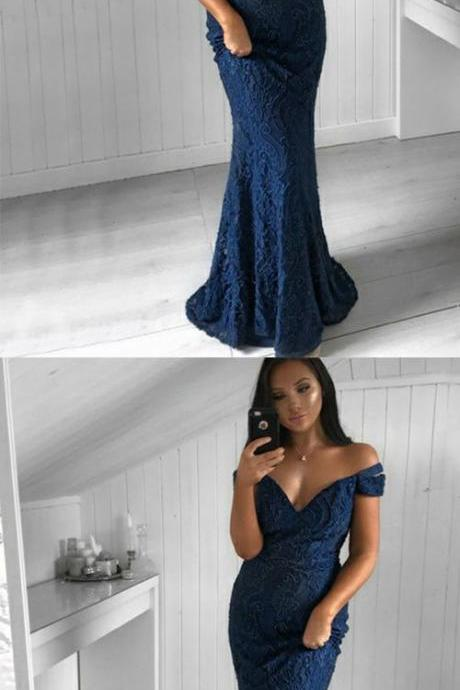 Mermaid Off the Shoulder Dark Blue Lace Long Beaded Prom Dress M7097