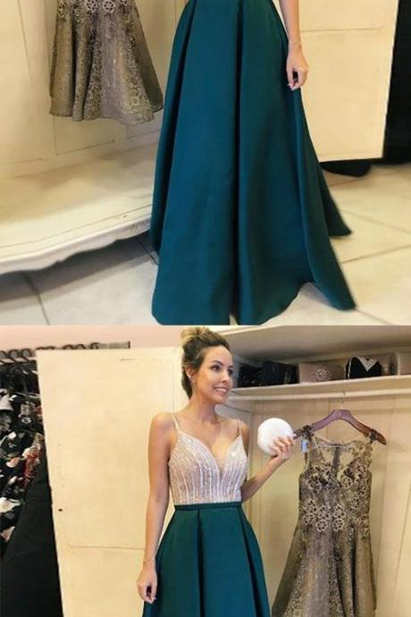 A-Line V-Neck Floor-Length Dark Green Satin Prom Dress with Beading M7105