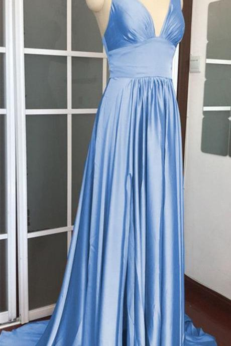 light blue bridesmaid dresses long chiffon wedding party dress M7113