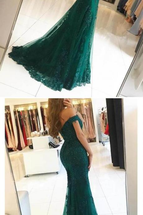 Elegant Lace Mermaid 2019 Prom Dress, Off the shoulder Evening Long Dress M7132
