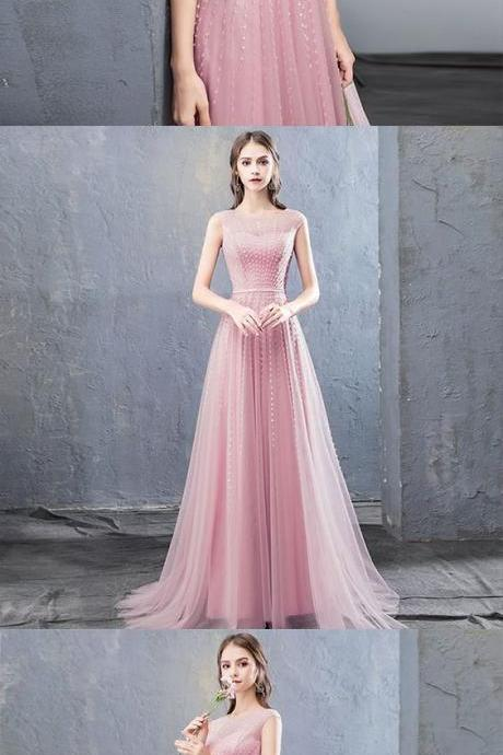Stylish round neck tulle beaded long prom dress, evening dress M7137
